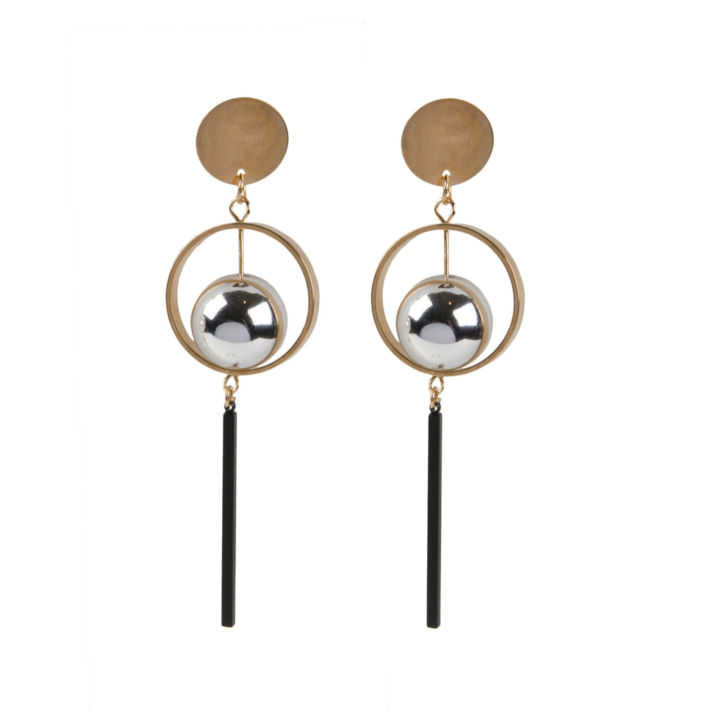 LUNA Gold Disc & Silver Ball Drop Earrings