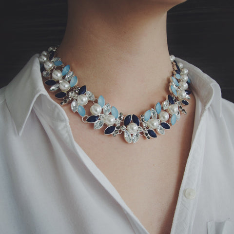 LYDIA Floral Silver Pearl Jewel Collar Necklace