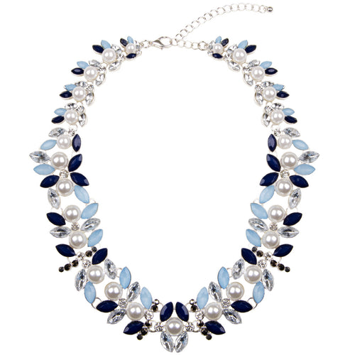 Floral Silver Pearl Jewel Collar Necklace