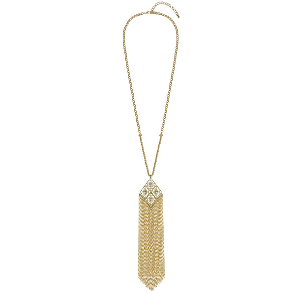 MACY Long Gold Statement Pendant Tassel Necklace