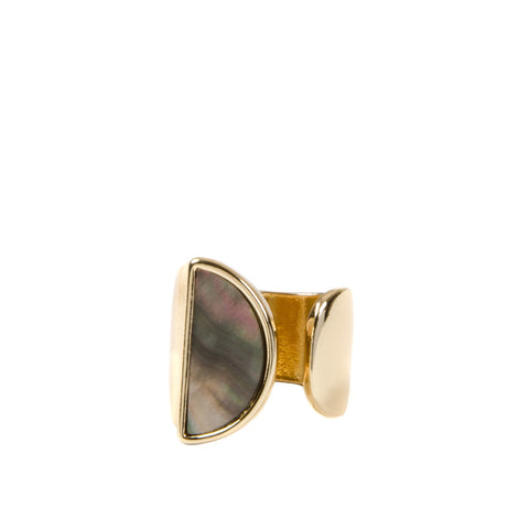 MAJA Gold Semi Circle Mother Of Pearl Cuff Ring