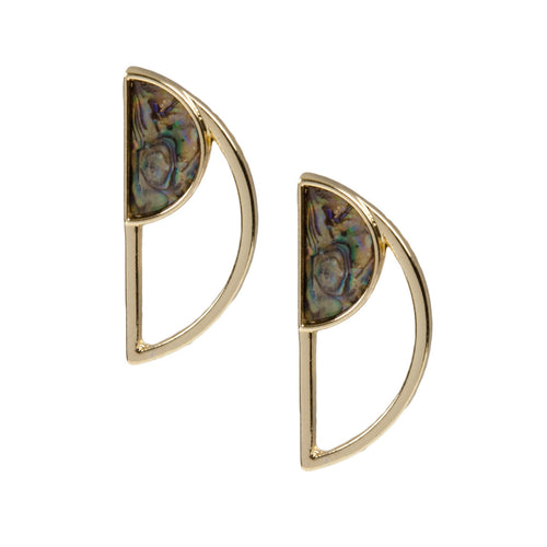 Gold Semi Circle Mother Of Pearl Earrings