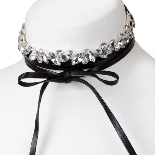 Diamante Black Tie Choker Necklace
