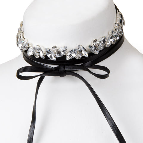 MARGOT Diamante Black Tie Choker Necklace