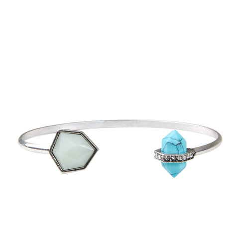 Silver Semi Precious Stone And Jewel Cuff Bangle