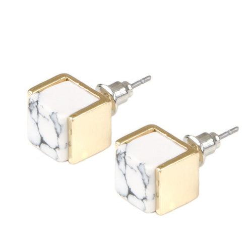 Gold Square White Marble Stud Earrings
