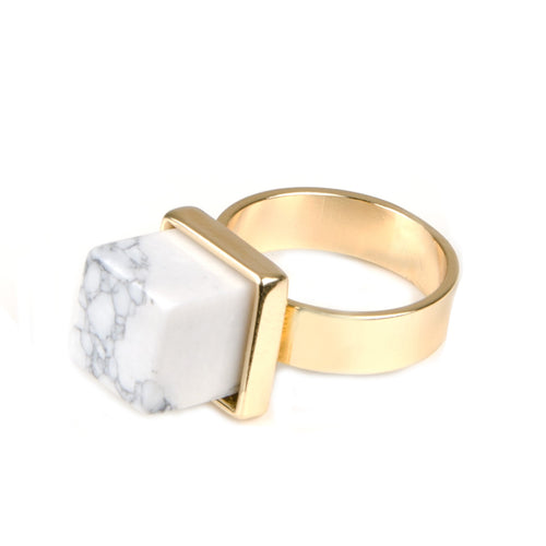 Gold Square White Marble Ring