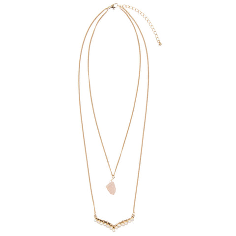 MIA Layered Semi Precious Pearl Necklace