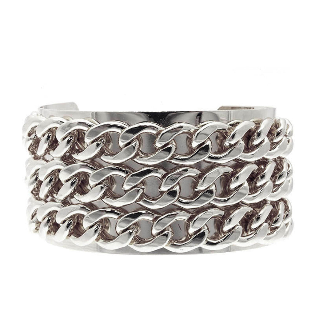 MILEY Silver Chunky Chain Cuff Bangle