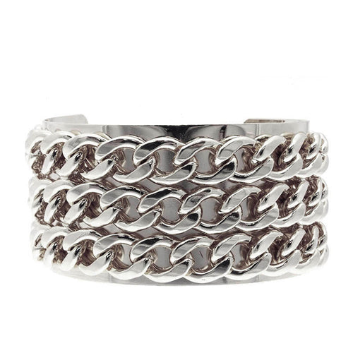 Silver Chunky Chain Cuff Bangle