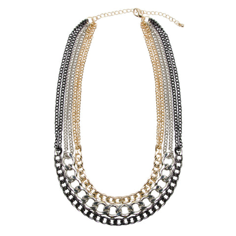 MILEY Layered Multi Tone Chunky Chain Necklace