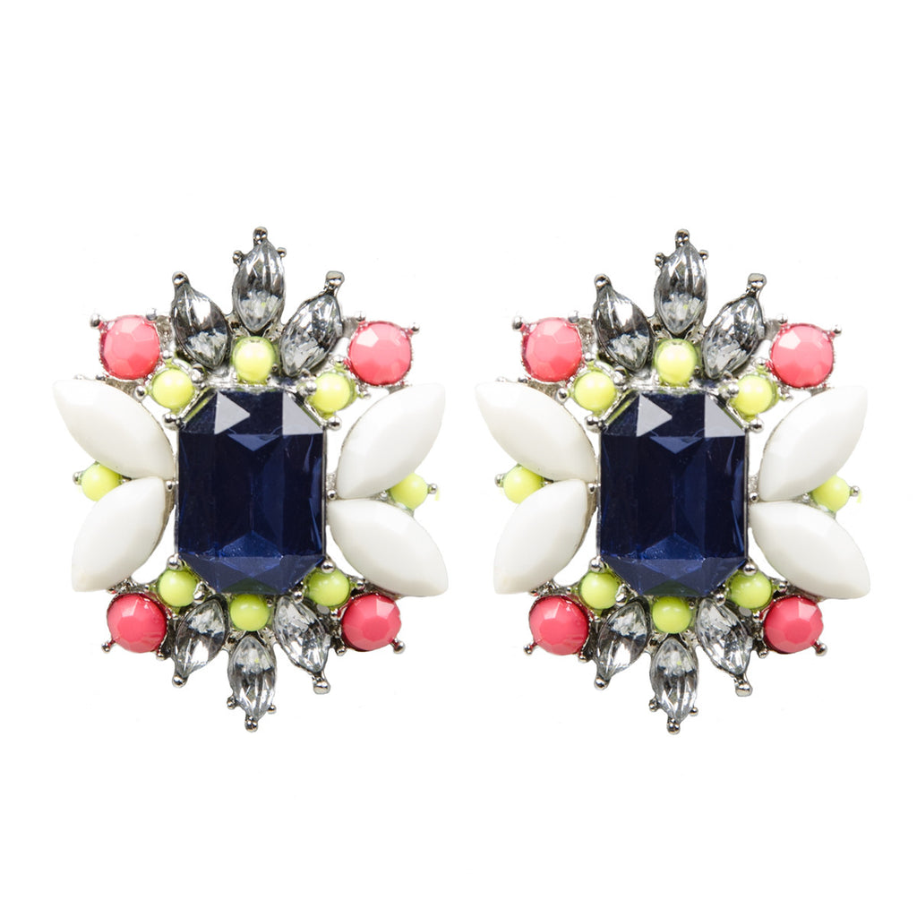 MADELINE Colourful Floral Jewel Cluster Earrings