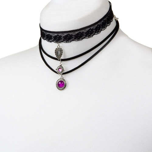 Layered Lace Charm Black Choker Set