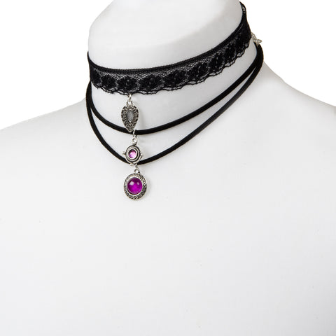 NARELLE Layered Lace Charm Black Choker Set
