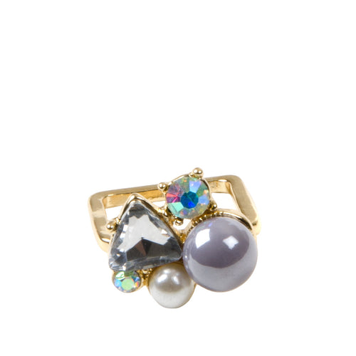 Statement Multi Jewel Pearl Ring