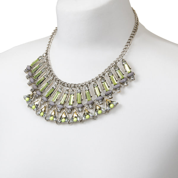 PALOMA Silver Geometric Statement Pastel Jewel Necklace