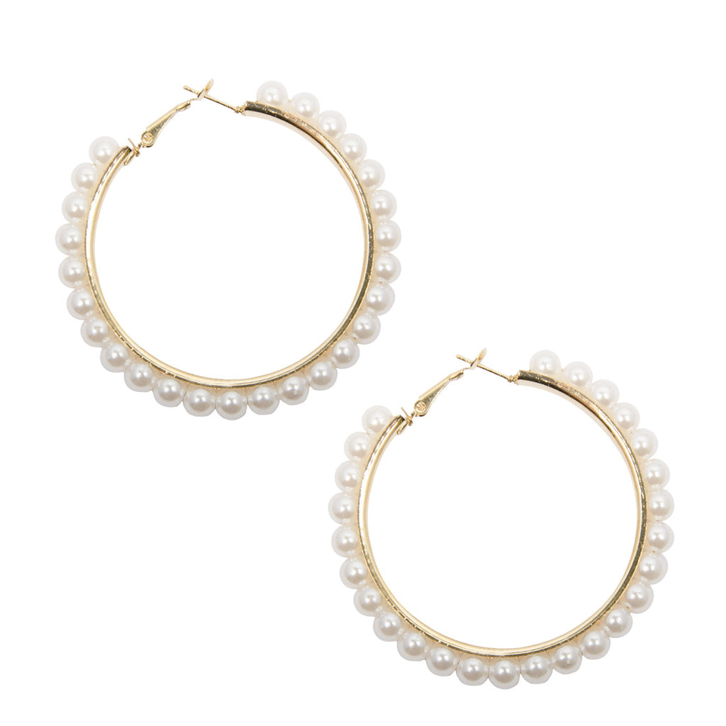 ZARIA Gold Pearl Hoop Earrings
