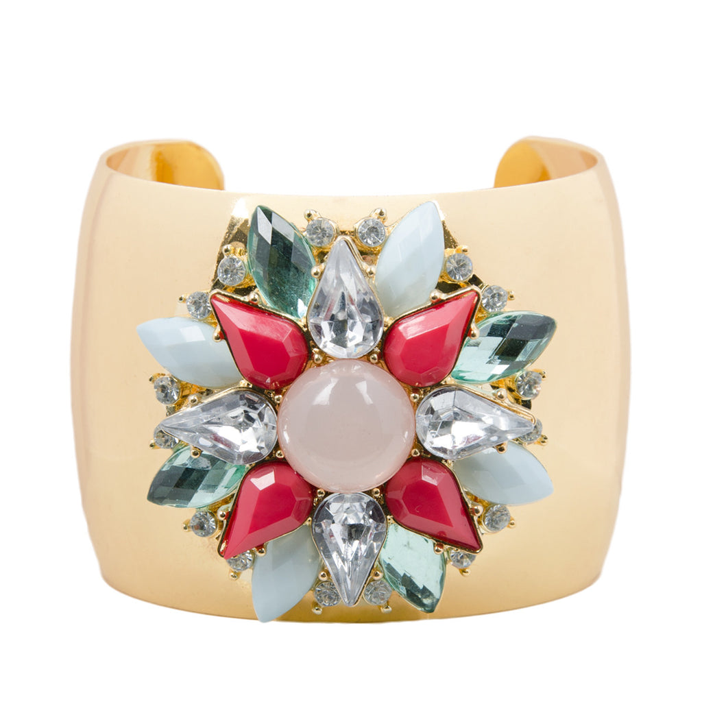 Gold Statement Floral Jewel Cuff Bangle