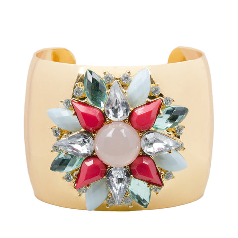 REINA Gold Statement Floral Jewel Cuff Bangle
