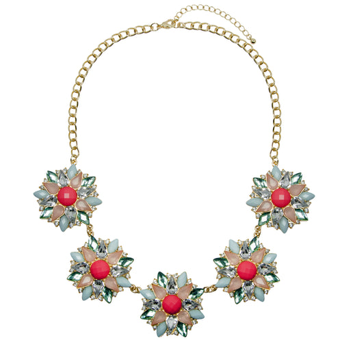 Statement Floral Multi Pendant Jewel Necklace
