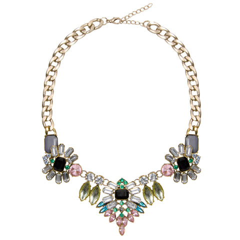 ROSIE Gold Chunky Floral Jewel Necklace