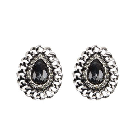SARAI Silver Chain Grey Jewel Earrings