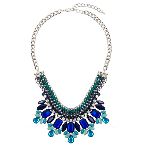 Statement Silver And Blue Jewel Necklace