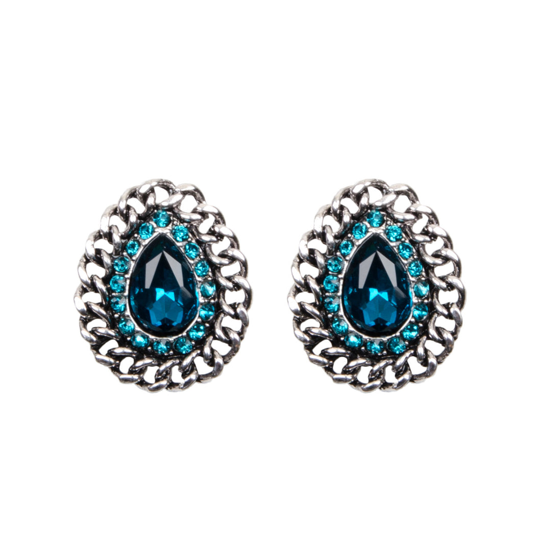 Silver Chain And Teal Jewel Stud Earrings