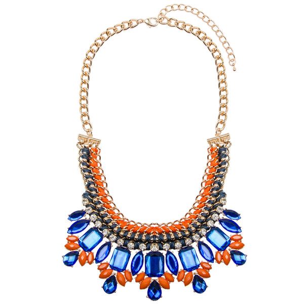 Bright Clashing Woven Jewel Necklace