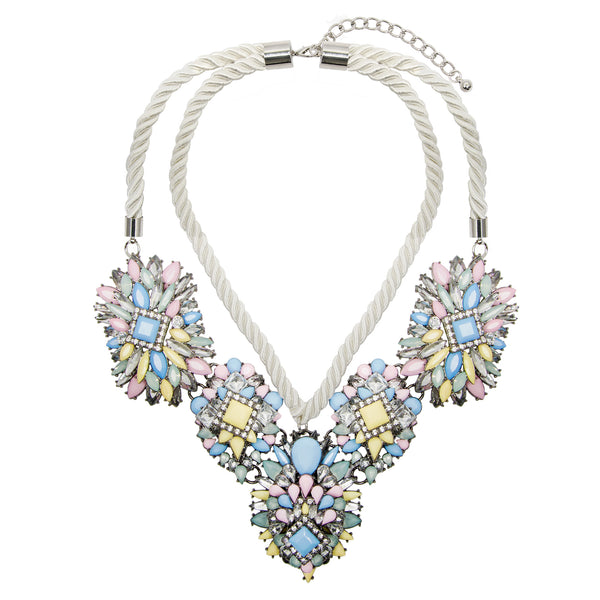 Statement Pastel Jewel Rope Necklace