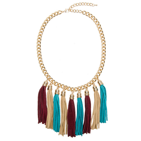 SOPHIE Gold Chunky Suede Tassel Necklace