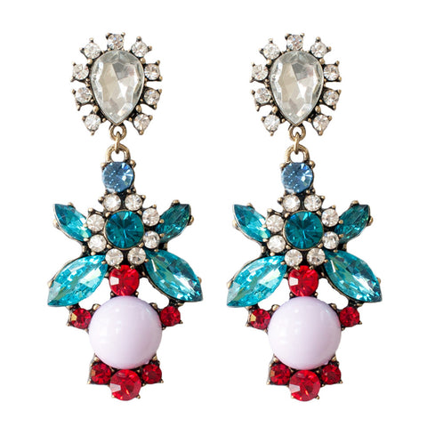 womens statement floral inspired colourful jewel chandelier earrings