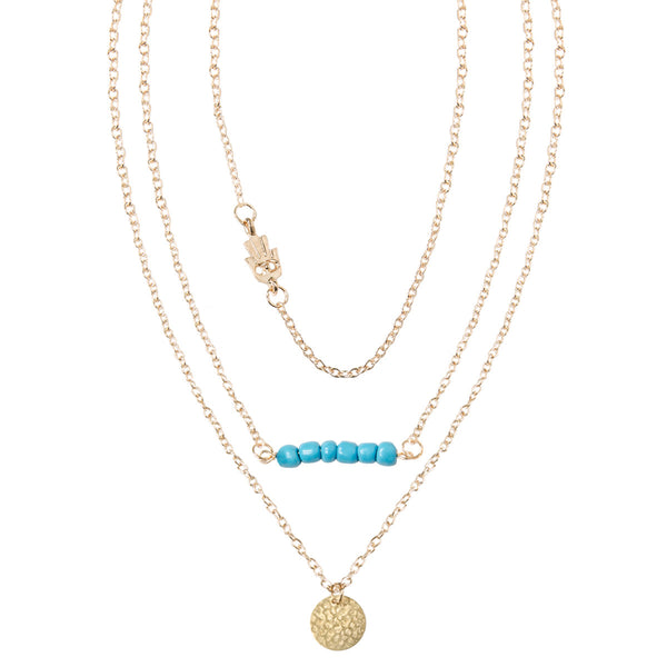 SYDNEY Gold Layered Hamsa Charm Necklace