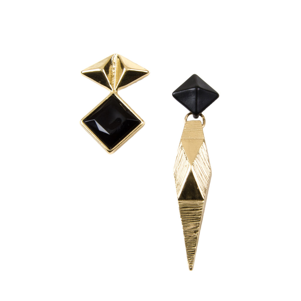 TARYN Geometric Gold Mismatch Earrings