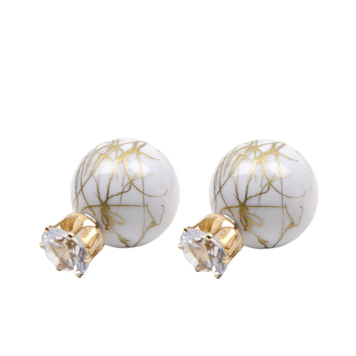 White Marble Through And Through Jewel Earrings