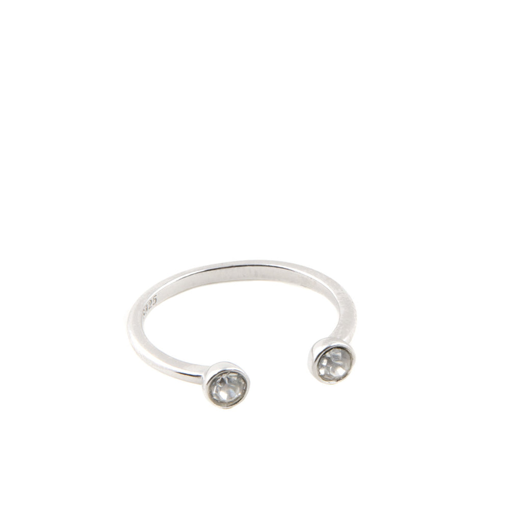 TORIA Silver Plated Jewel Cuff Ring