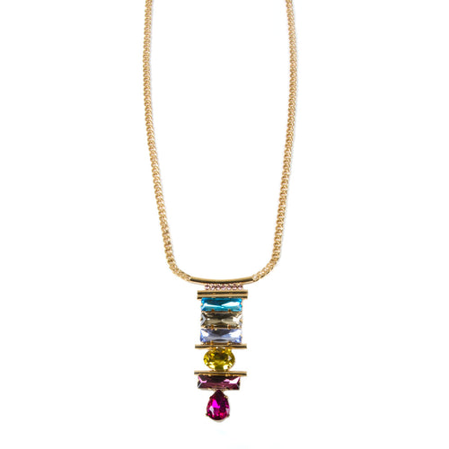 Bright Long Jewel Pendant Necklace