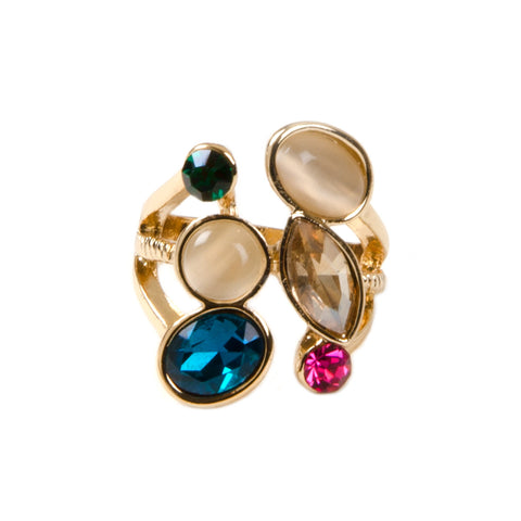 YASMIN Gold Colourful Multi Jewel Ring
