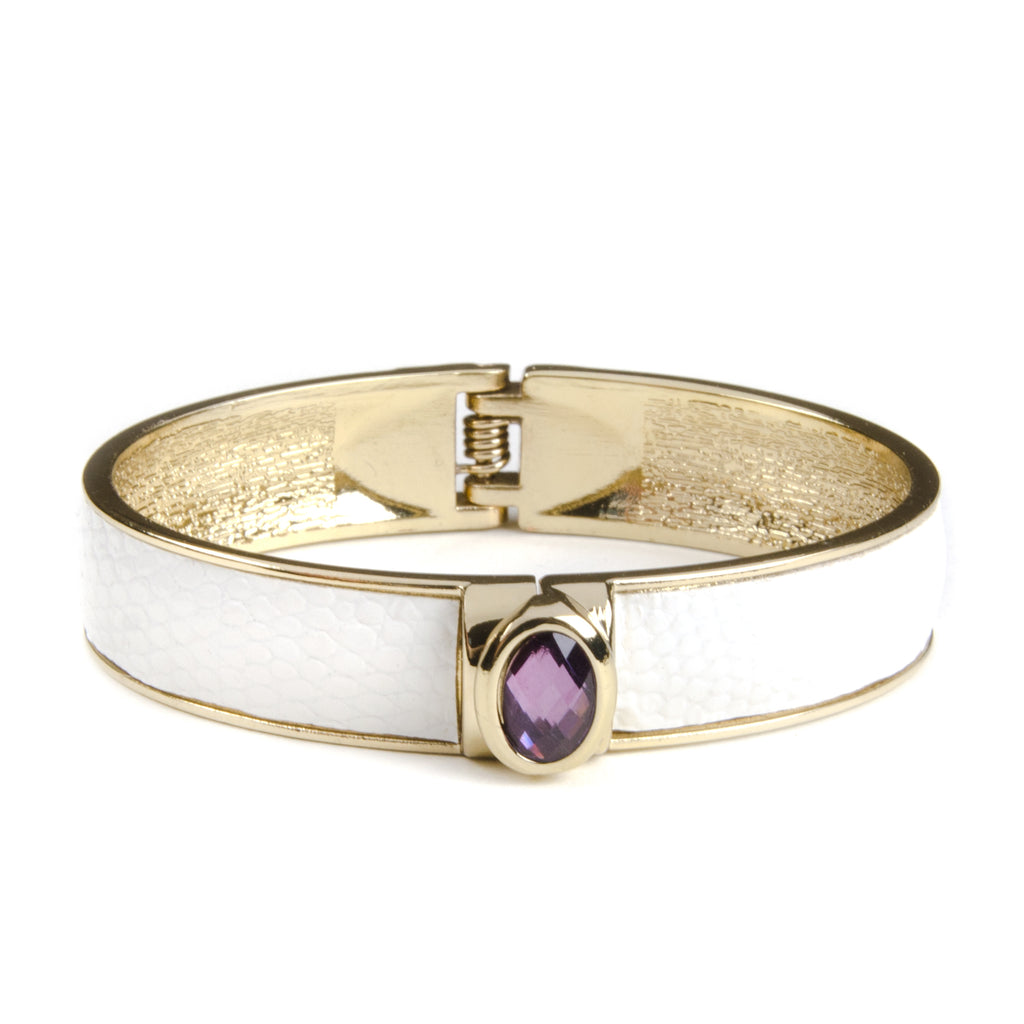 ADELA White & Gold Cuff Bangle with Purple Stone