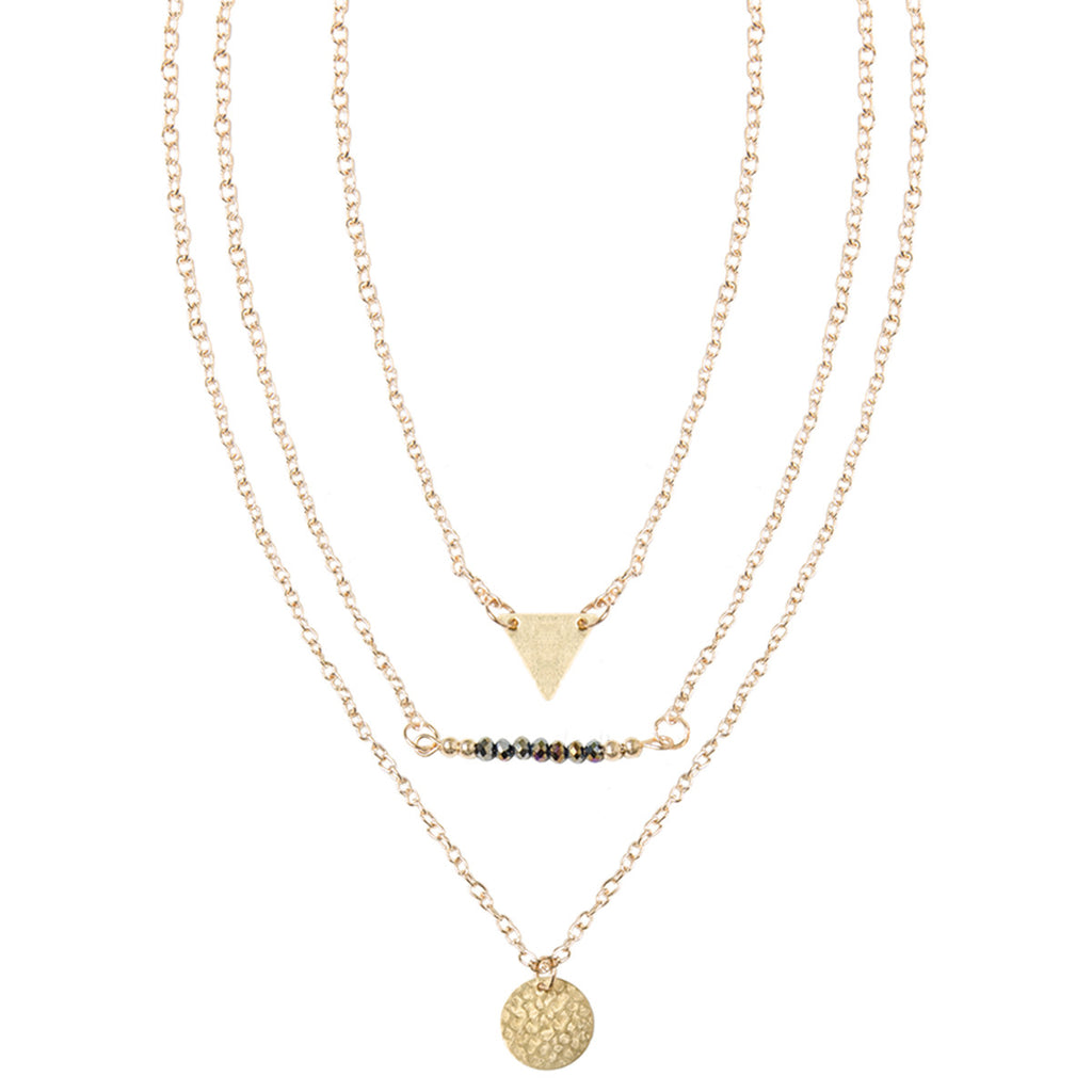 Gold Multi Row Charm Necklace