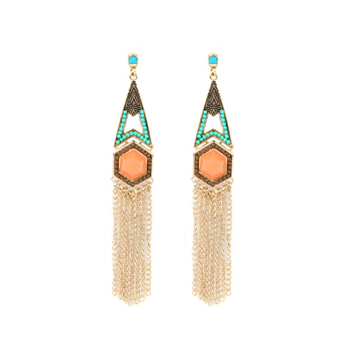 adorning ava gold tassel earrings with bright orange and turquoise beads ideal summer festival jewellery
