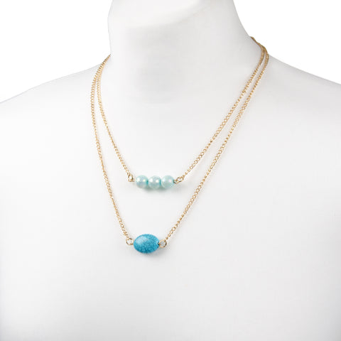 adorning ava gold layered neklace with blue coloured beads
