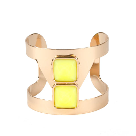 adorning ava gold and bright neon yellow cut out cuff bangle for women from our summer jewellery collection