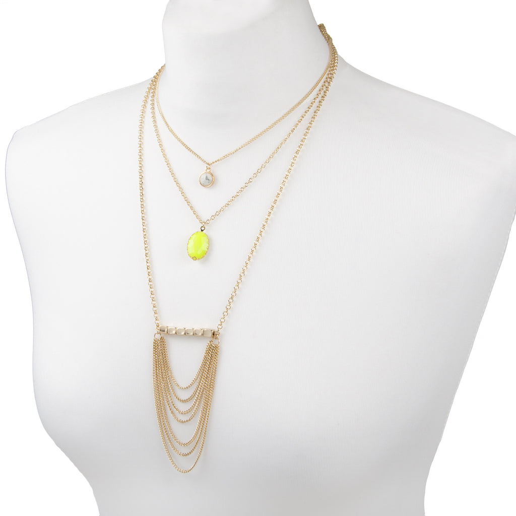 adorning ava gold multi row layered necklace with neon and semi precious stone detail