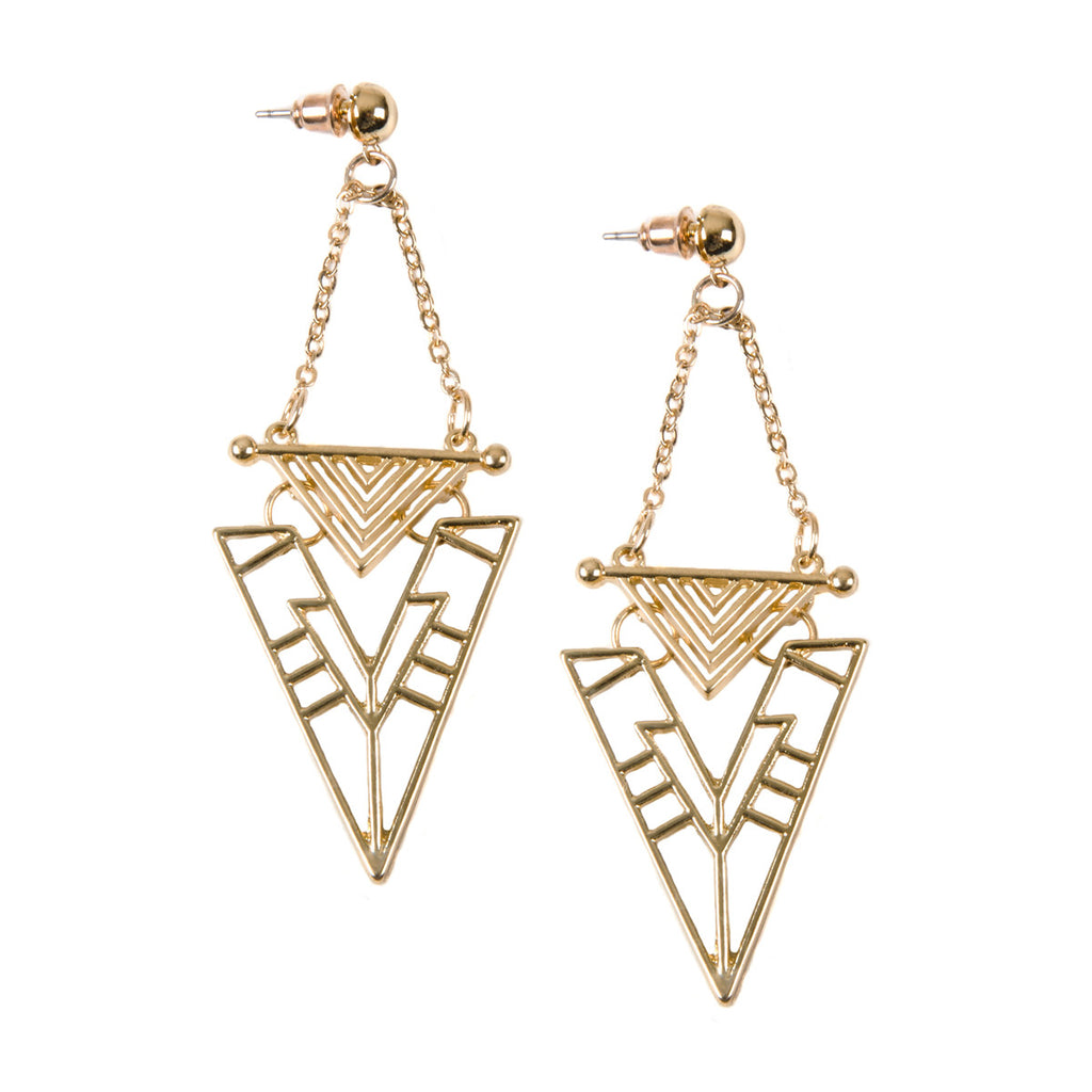 AMBER Gold Triangle Cut Out Drop Earrings