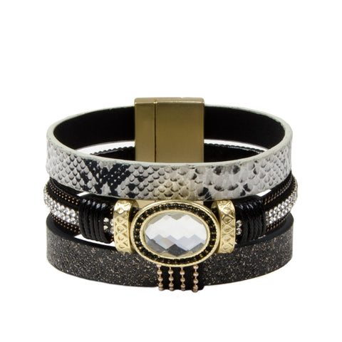 Stacked Black And Gold Jewel Cuff Bracelet