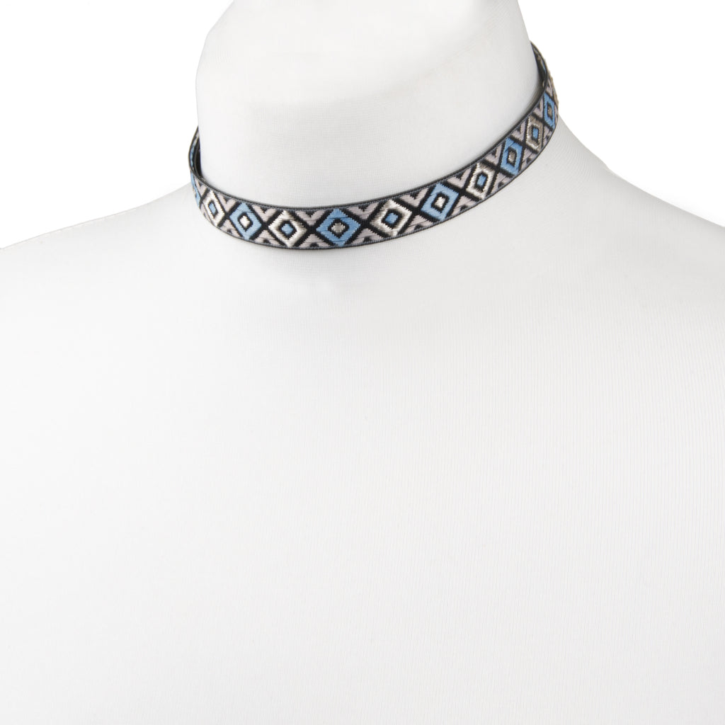 blue and silver aztec patterned choker necklace from our festival jewellery collection