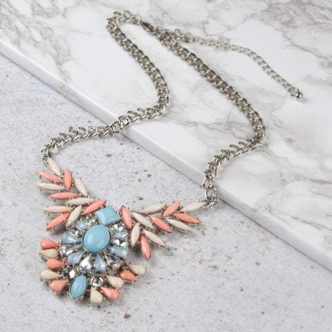CASEY Pink Pastel Jewel Pendant Necklace