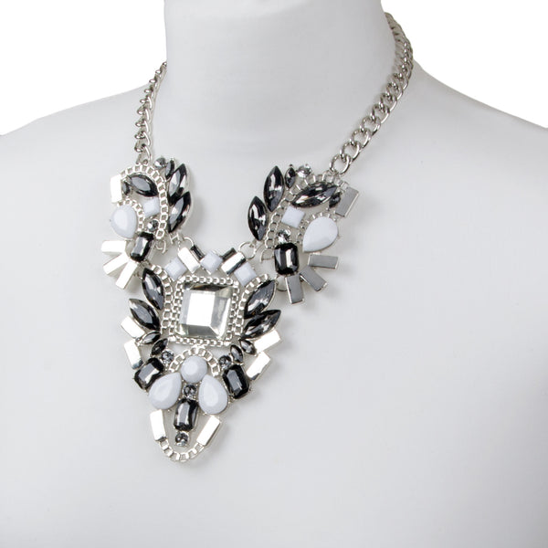 Silver Chunky Geometric White Jewel Necklace