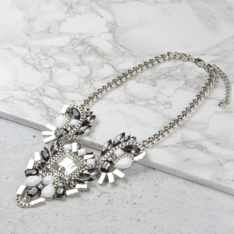 ELENA Silver Chunky Geometric White Jewel Necklace